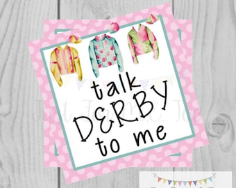 Derby Printable Tags, Instant Download, Derby Day, Square, Printable, Jockey, Jockey Silks, Horse Race, Horse Party, Talk Derby to Me