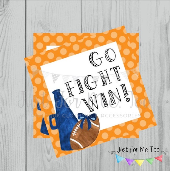 Football Printable Tags, Go Fight Win, Instant Download, School Tags, Cheerleading Tags, Cheerleader, Football, Orange and Blue