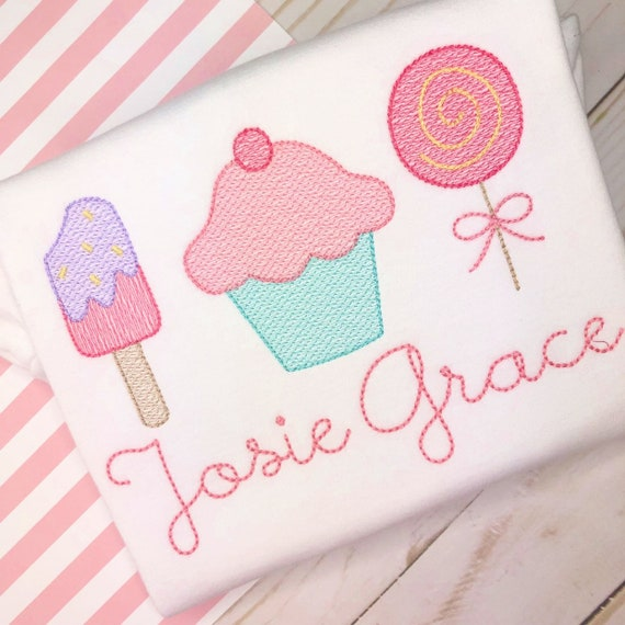 Personalized  Birthday Shirt or Bodysuit- Vintage stitch popsicle, cupcake, lollipop - Birthday Shirt- Vintage birthday- embroidery
