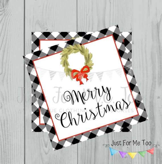 Merry Christmas Gingham Printable Tags, Instant Download, Christmas Tags, Square Gift Tags, Merry Christmas, Lunchbox, Printables
