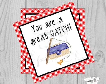 Valentine Printable Tags, Instant Download, Valentine's Day Tags, Square Gift Tags, Classroom Tag, Fish Tag, Treats, You're a great Catch