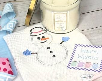 Snowman Hand Towel, Decorative Towel, Tea Towel, Cotton Hand Towel, Hostess Gift, Housewarming Gift, Embroidery, Winter Tea Towel