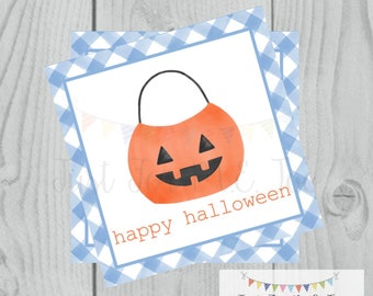 Halloween Printable Tags, Instant Download, Happy Halloween Boy Tags, Square Gift Tags, Blue Gingham, Printable, Halloween Treats, pumpkin
