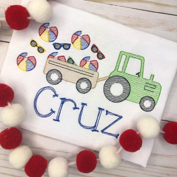 Personalized Beach Tractor Sketch Stitch Shirt or Bodysuit, Embroidered, Applique, Sunglasses, Farm Shirt, Tractor, Summer Farm, Beach Ball