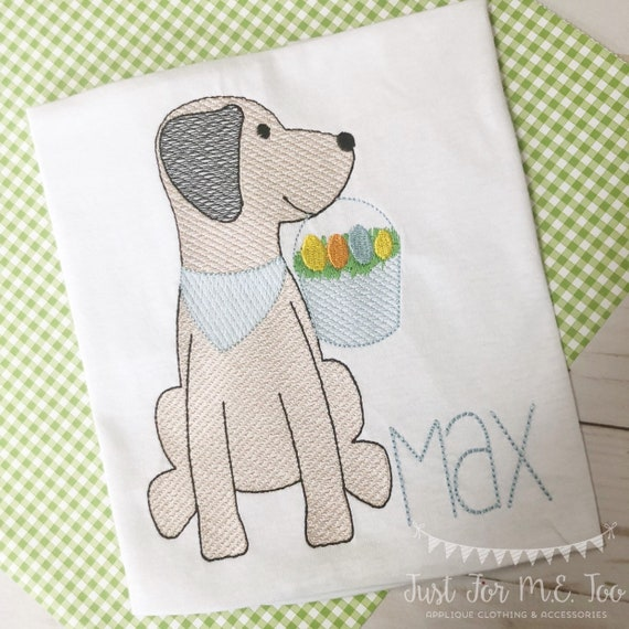 Personalized Easter Shirt, Easter Dog Sketch Shirt, Bunny Dog, Easter Hunt Shirt, Dog Applique