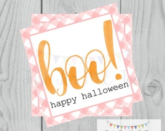 Halloween Printable Tags, Instant Download, Girl BOO Tags, Square Gift Tags, Pink Gingham, Lunchbox, BOO Tag, Printable, Girl Halloween