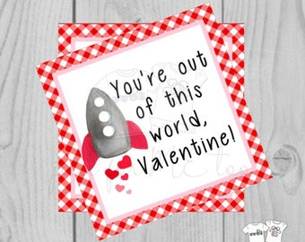 Valentine Printable Tags, Instant Download, Valentine's Day Tags, Square Gift Tags, Classroom Tag, Rocket Tag, Treats, Out of this World