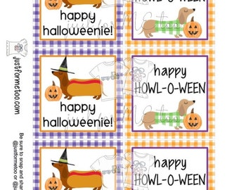 Halloween Dog Printable Tags, Instant Download, Halloween Tags, Square Gift Tags, Dog, Lunchbox, Printable, Halloweenie, Howl-O-Ween
