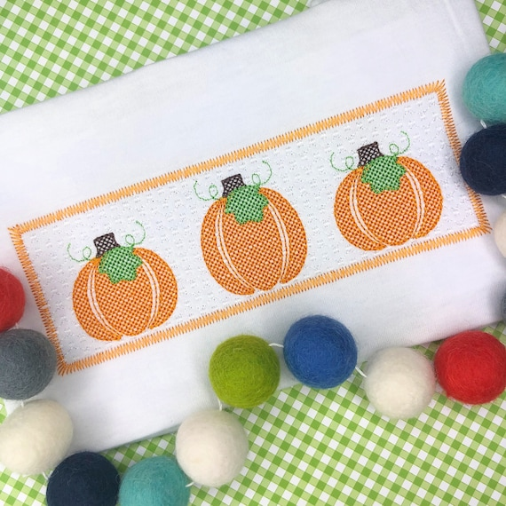 Personalized Pumpkin embroidery Shirt, Faux Smocking Stitch pumpkin, Thanksgiving Embroidery Shirt, Vintage Pumpkin Embroidery, boys, girls