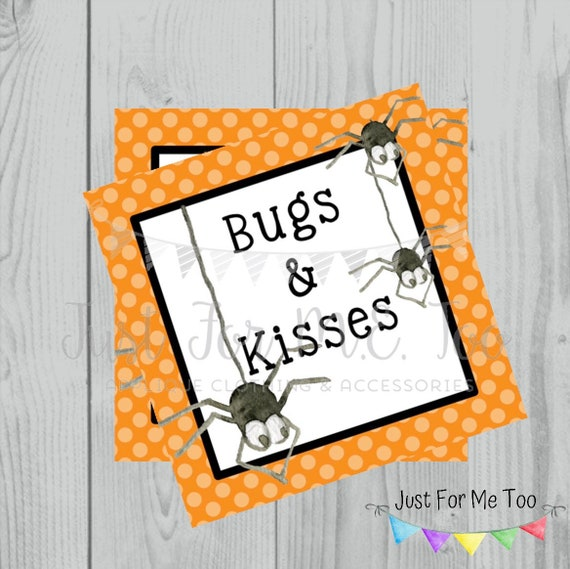 Halloween Printable Tags, Instant Download, Bugs and Kisses Tags, Square Gift Tags, Birthday, Lunchbox, Pumpkin, Printables, Halloween