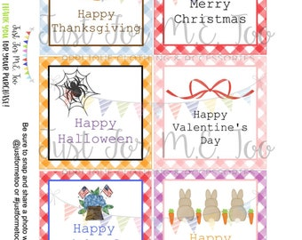 Printable Tags, Digital Download, Month Tags, Square Gift Tags, Holiday Bundle, Teacher Gifts, Small Gifts, Treats, Holiday