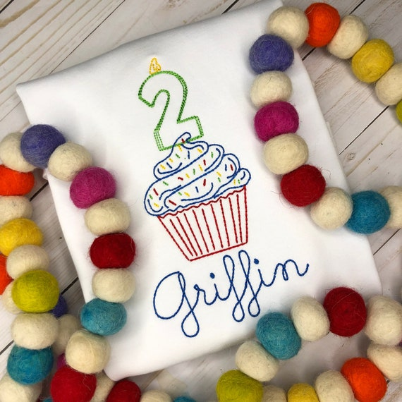 Personalized Birthday Shirt or Bodysuit- Vintage stitch cupcake- Birthday Shirt- Vintage birthday- embroidery, monogram, 2nd Birthday