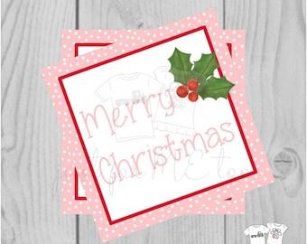 Christmas Printable Tags, Instant Download, Christmas Tags, Square Gift Tags, Merry Christmas, Pink Holly Tag, Pink Tag, Pink Christmas