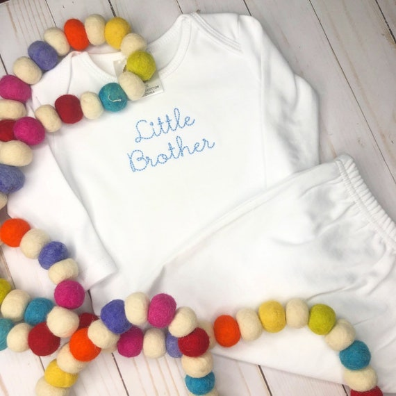 Personalized Boys Little Brother  Day Gown, Boy Sibling Gown, Baby Boy Little brother outfit, Sibling Shirt