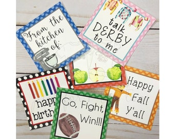 September Printable Tag Bundle, Derby, Fall, Football, Apples, Happy Birthday, Instant Download, School Tags, Friends, square tags