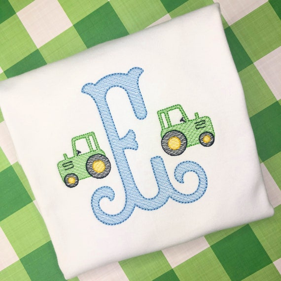 Personalized Tractor Sketch Stitch Shirt, Embroidered, Fall, Farmer, Tractor Shirt, Monogram Tractor