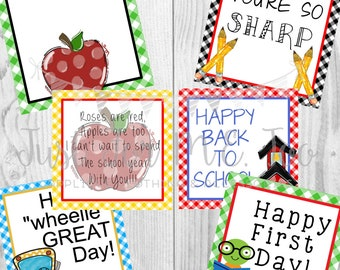 Instant Download Printable Back to School Tags, Apple, Bus, Pencil, Book Worm, School House, Lunch Box Note, Printable, Instant Download