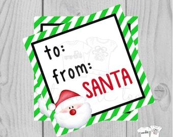 Santa Printable Tags, Instant Download, Christmas Tags, Square Gift Tags, From Santa, Santa Tag, Gift Tag, Christmas