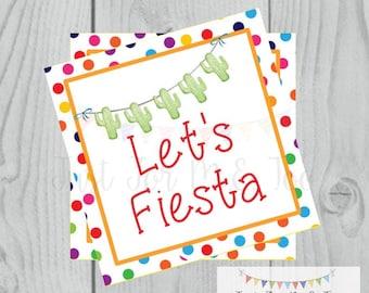 Instant Download Fiesta Tags, Cinco De Mayo Tag, Let's Fiesta, Friend, Gift, Tag, Taco, Cinco De Mayo, Cactus, Fiesta, Digital Download