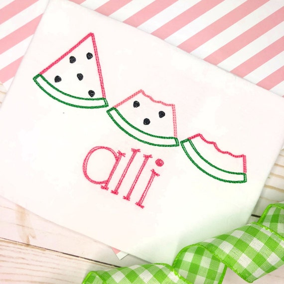 Personalized Summer Watermelon embroidered Shirt or Bodysuit- Fruit applique shirt, Summer, embroidery, for girls, watermelon trio, scribble