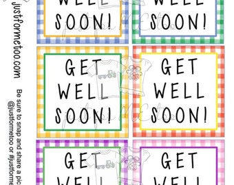 Get Well Soon Digital Download Tag, Get Well Tag, Multi-Color Tag, Instant Download, Tags, Get Well Gift