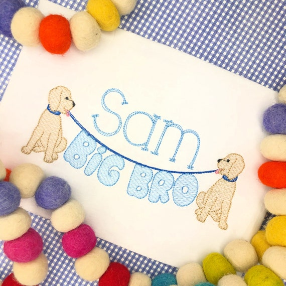 Personalized Sibling shirt- Big Brother Shirt- Makes a great Gift- Vintage Stitch Sibling shirt- Big Brother Dog shirt- Pup Shirt