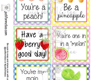 Printable Tags, Instant Download, Digital Download, Gift Tags, Fruit Tags, Summer Treats, Fruit, Teacher Tags, Small Gifts, Treats