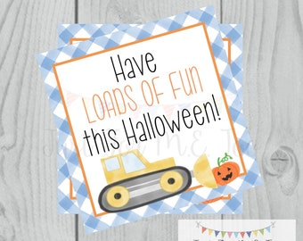 Halloween Printable Tags, Instant Download, Trick or Treat Tags, Square Gift Tags, Halloween Friends, Printable, Happy Halloween, Truck