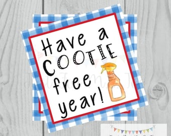 Printable Tags, Cootie Free Tag, Back to School, Blue, Classroom Gift