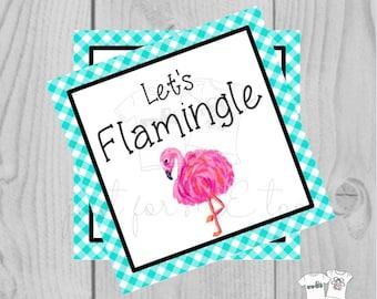 Digital Download Flamingo Valentine Tag, Flamingo Tag, Flamingo Printable, Valentine Tag, Let's Flamingle, Lunch Note, Instant Download