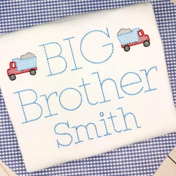 Personalized  Sibling shirt- Big Brother Shirt- Makes a great Gift- Vintage Stitch Sibling shirt- Construction Shirt- Truck