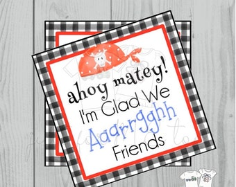 Valentine Printable Tags, Instant Download, Valentine's Day Tags, Square Gift Tags, Classroom Tag, Pirate Tag, Treats, ahoy matey