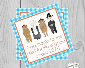 Thanksgiving Printable Tags, Instant Download, Give Thanks Tag, Pilgrim and Indian, Printable, Thanksgiving, Psalm 107:1