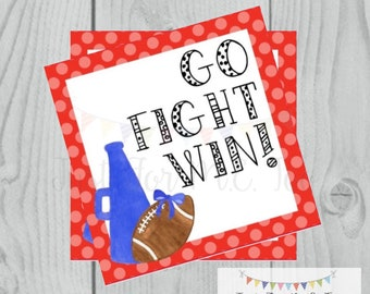 Football Printable Tags, Go Fight Win, Instant Download, School Tags, Cheerleading Tags, Cheerleader, Football, Red and Blue