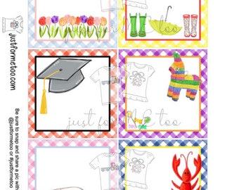 Blank Printable Tags, Instant Download, School Tags, Square Gift Tags, Gift Tag, Lunchbox, Printable, Gift, Treats, Graduation, Flowers