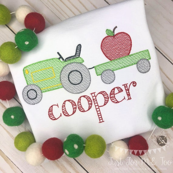 Personalized Apple Tractor Sketch Stitch Shirt or Bodysuit, Embroidered, Applique, Fall, Apple Truck, Tractor Shirt, boy, girl