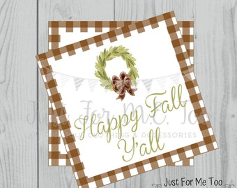 Happy Fall Y'all Printable Tags, Instant Download, Fall Tags, Pumpkin Gift Tags, Lunchbox, Pumpkin, Printables, Square Tag