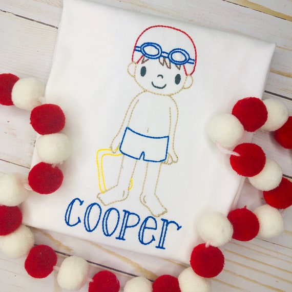 Personalized Boys Swim Shirt- Boys Beach Shirt- Summer Shirt- Personalized Boys shirt-Vintage Boys shirt- Pool- Beach- Summer- Boy Swimmer