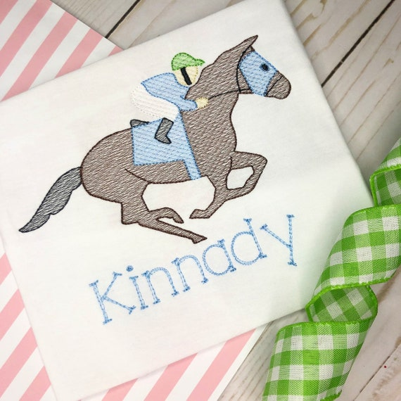 Personalized Derby Shirt, Racing Jockey Sketch Shirt, Horse Racing, Equestrian, Kentucky, embroidery, horse shirt