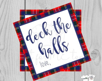 Christmas Printable Tags, Instant Download, Christmas Tags, Square Gift Tags, Deck the Halls, Tartan Plaid Tags, Printable, Gifts