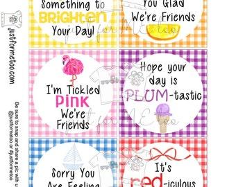 Printable Color Tags, Instant Download, Digital Download, Gift Tags, Summer Tags, Summer Treats, Classroom Treats, Treats, Vacation