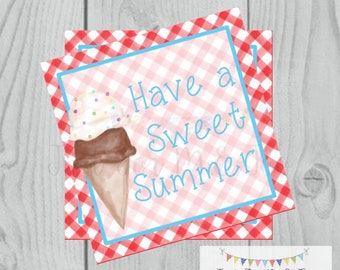 Instant Download Printable Ice Cream Tag, Instant Download, Printable, Square, Gift Tag, Sweet Summer, End of School, Party Tag