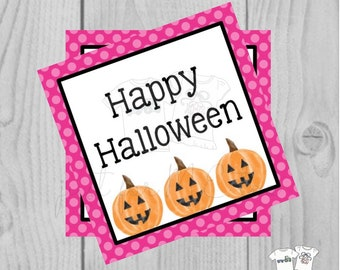Halloween Printable Tags, Instant Download, Happy Halloween Pink Tags, Square Tags, Jack-O-Lantern, Lunchbox, Pumpkin, Printables, Halloween