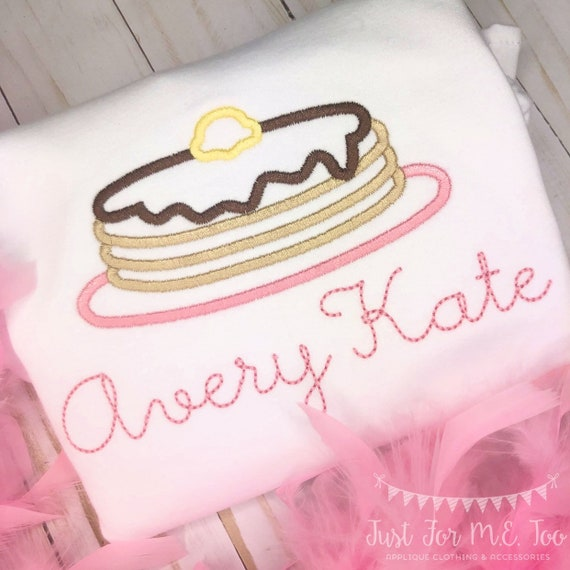 Personalized Pancake shirt- Embroidered Pancake Shirt- Pajamas ans Pancakes- Birthday Shirt- Pancake Birthday Shirt- Pancake applique