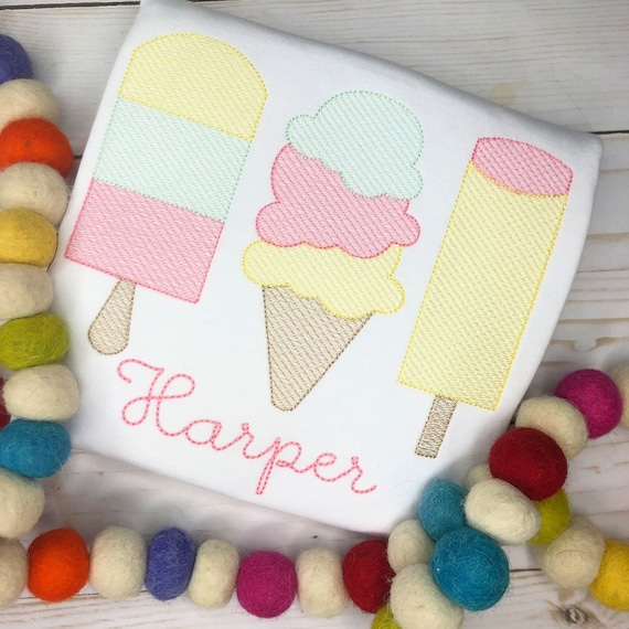 Personalized Ice Cream Embroidered shirt or bodysuit - ice cream applique, Summer, for girls, monogram, embroidered, popsicle