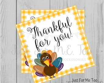 Thanksgiving Printable Tags, Instant Download, Thankful for You, Turkey Gift Tags, Printable, Thanksgiving, Orange Gingham