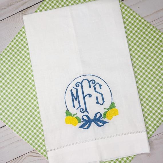 Monogrammed Linen Tea Towel, Guest Towel, Monogram Hand Towel, Linen Guest Towel, Personalized Hand Towel, Tea Towel, lemon Monogram towel