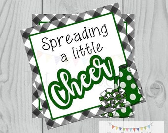 Cheer Printable Tags, Spreading a little Cheer, Instant Download, School Tags, Cheerleading Tags, Cheerleader, Football, Green