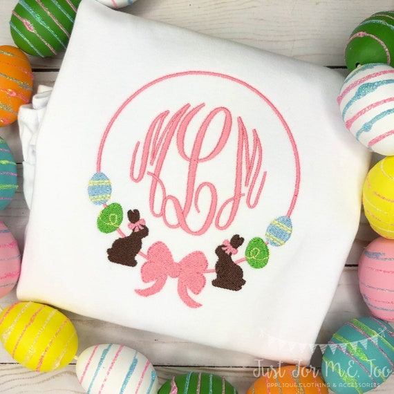 Personalized Easter monogram Shirt or Bodysuit, Bunny Frame with a bow, Easter Egg Monogram frame, monogram, embroidered, Easter, Bunny