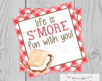 Smores Printable Tags, Instant Download, Life is S'More fun with you, Square, Printable, S'Mores, campfire, camping, birthday, Fall, Red